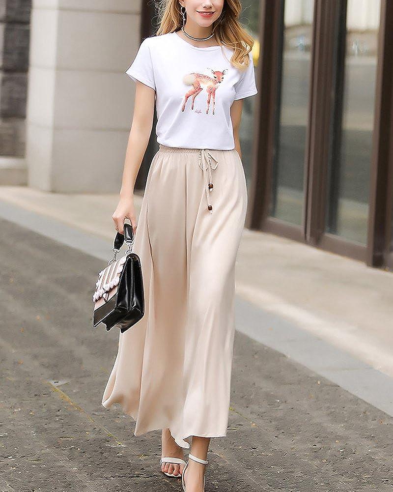 5e3780ce6 Falda Larga Mujer Cintura Larga Camiseta Maxi Faldas Beige One Size ...