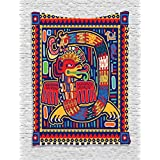 Ambesonne Mexican Decorations Collection, Aztec Pattern Ethnic Colorful Ornamental Mythology Ancient History Snake Image, Bedroom Living Room Dorm Wall Hanging Tapestry, Red Navy Green