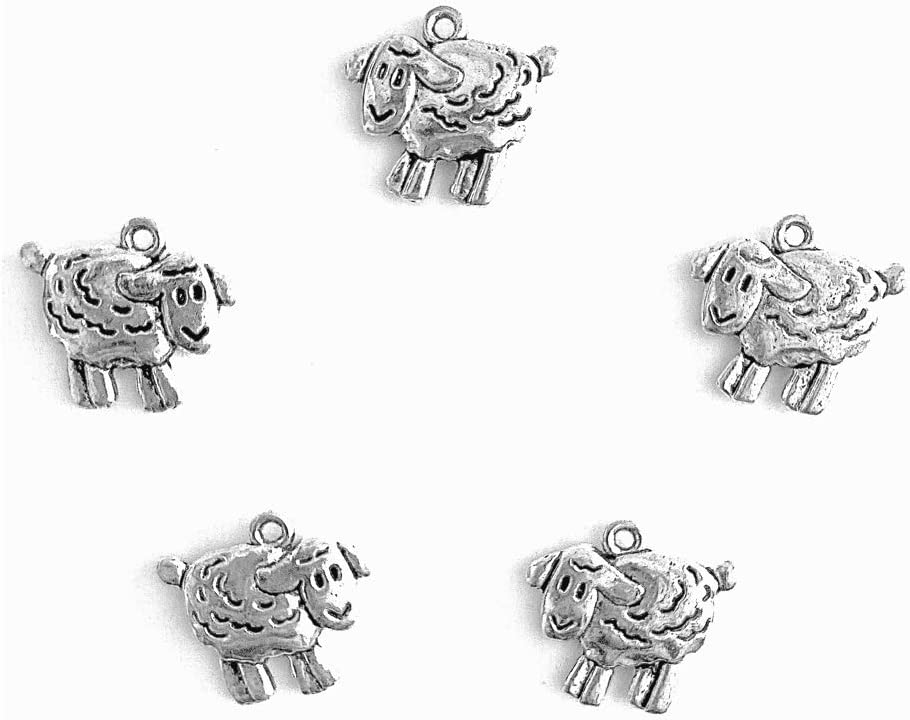 6//8 x5//8 PEPPERLONELY 50pc Antiqued Silver Alloy Sheep Animal Charms Pendants 18x16mm