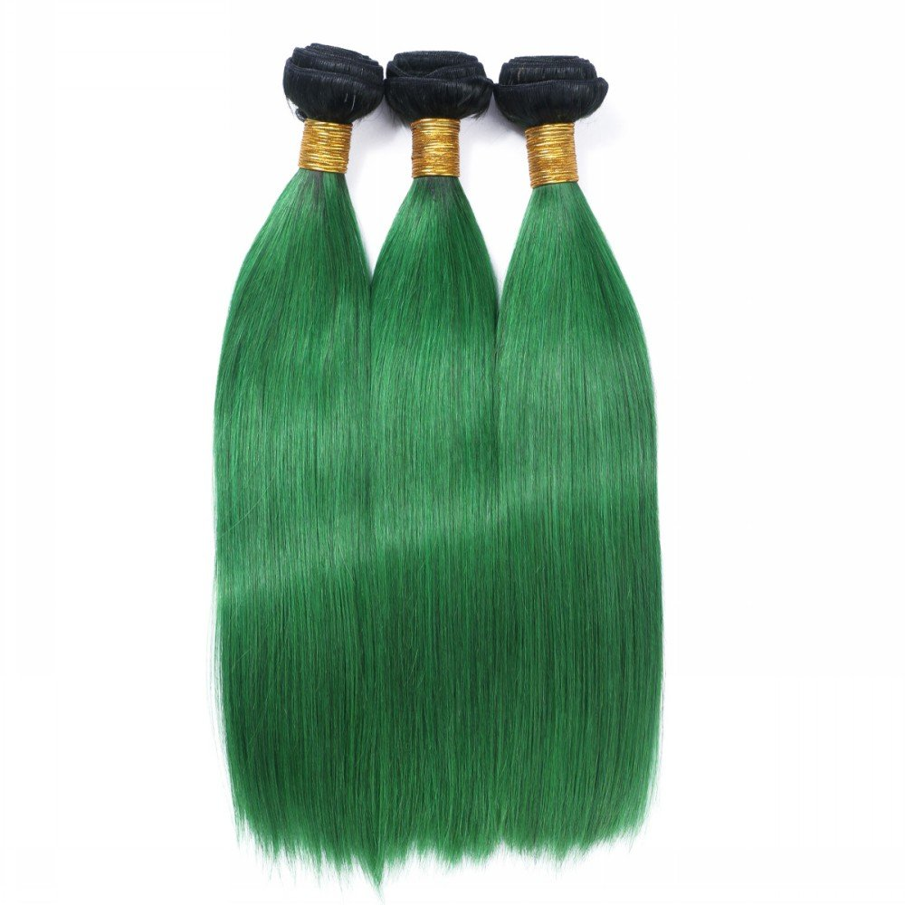 Amazon off black to green mermaid colorful two colors ombre 1b green ombre hair extensions black to green hair wefts human hair weave bundles 3pcs two pmusecretfo Gallery