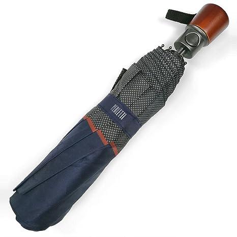 Paraguas Plegable Hombre - Mini Paraguas Automatico con mango de madera - Resistente Compacto y Antiviento