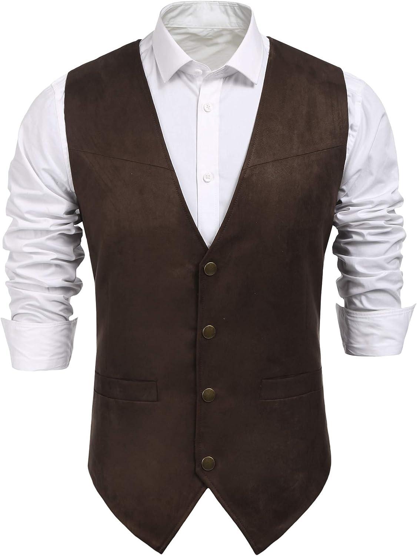 COOFANDY Men's Suede Leather Suit Vest Casual Western Vest Jacket Slim Fit Vest Waistcoat at  Men's Clothing store