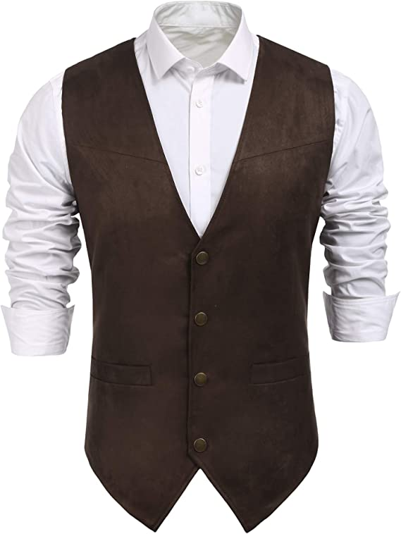 70s Jackets, Furs, Vests, Ponchos COOFANDY Mens Suede Leather Suit Vest Casual Western Vest Jacket Slim Fit Vest Waistcoat  AT vintagedancer.com