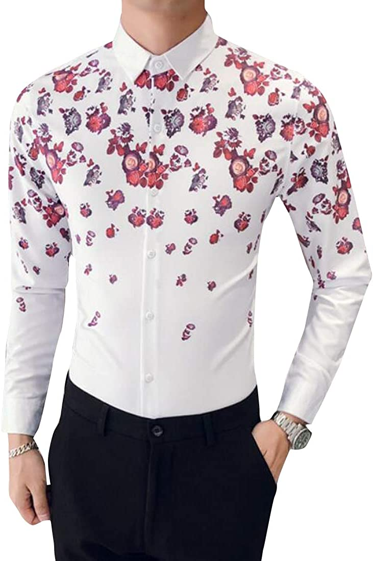 Fubotevic Mens Classic Slim Floral Long Sleeve Trendy Button Down Dress Work Shirt
