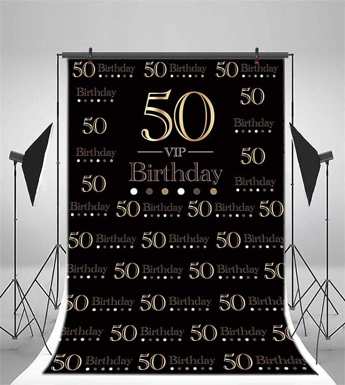 YongFoto 1,5x1m Vinilo Fondo de Fotografia Fondo Negro 50 Aniversario de cumpleaños Fiesta Sorpresa Fondo Telón de Fondo Photo Booth Infantil Party ...