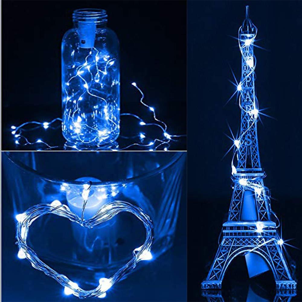 Solar Cork Wine Bottle Fairy Light gaddrt 1 M x 10 LED Solar Cork Weinflasche Stopper Kupfer Draht Lichterkette Feenhafte Lampen (Blau)