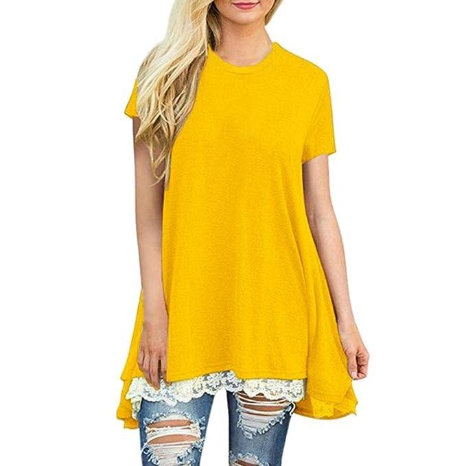 ... Para Mujer Sólido Casual Camisa de Manga Corta de Encaje Pullover Tops Blusa Tops Camiseta Larga Sección Superior Absolute: Amazon.es: Ropa y accesorios