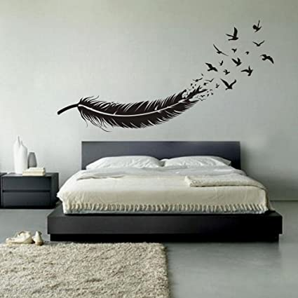 Birds of a Feather Wall Decals Feather Wall Decor Vinyl Feather Wall Mural Feather of Bird & Amazon.com: Birds of a Feather Wall Decals Feather Wall Decor Vinyl ...