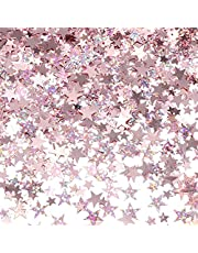 1 Pcs Rose Gold Paper Confetti, Glitter Star Table Confetti for Christmas Parties, Weddings, Birthdays, Anniversaries, Table Decorations, Diy Crafts, Adding Atmosphere, Confetti (Rose Gold)