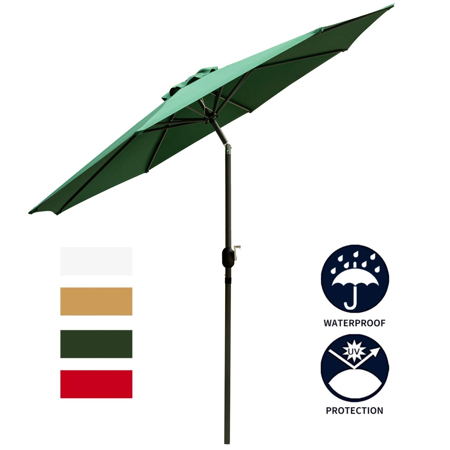 LEISURELIFE Green 9 Patio Umbrella Outdoor – Heavy Strong Patio Table Umbrellas,8 Sturdy Ribs,Tilt and Crank
