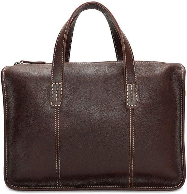 Color : Coffee Crystalzhong-MB Unisex Messenger Briefcase Men Genuine Leather Briefcase Slim Messenger Bags Case Professional Briefcase Elegant Business Carrying Case