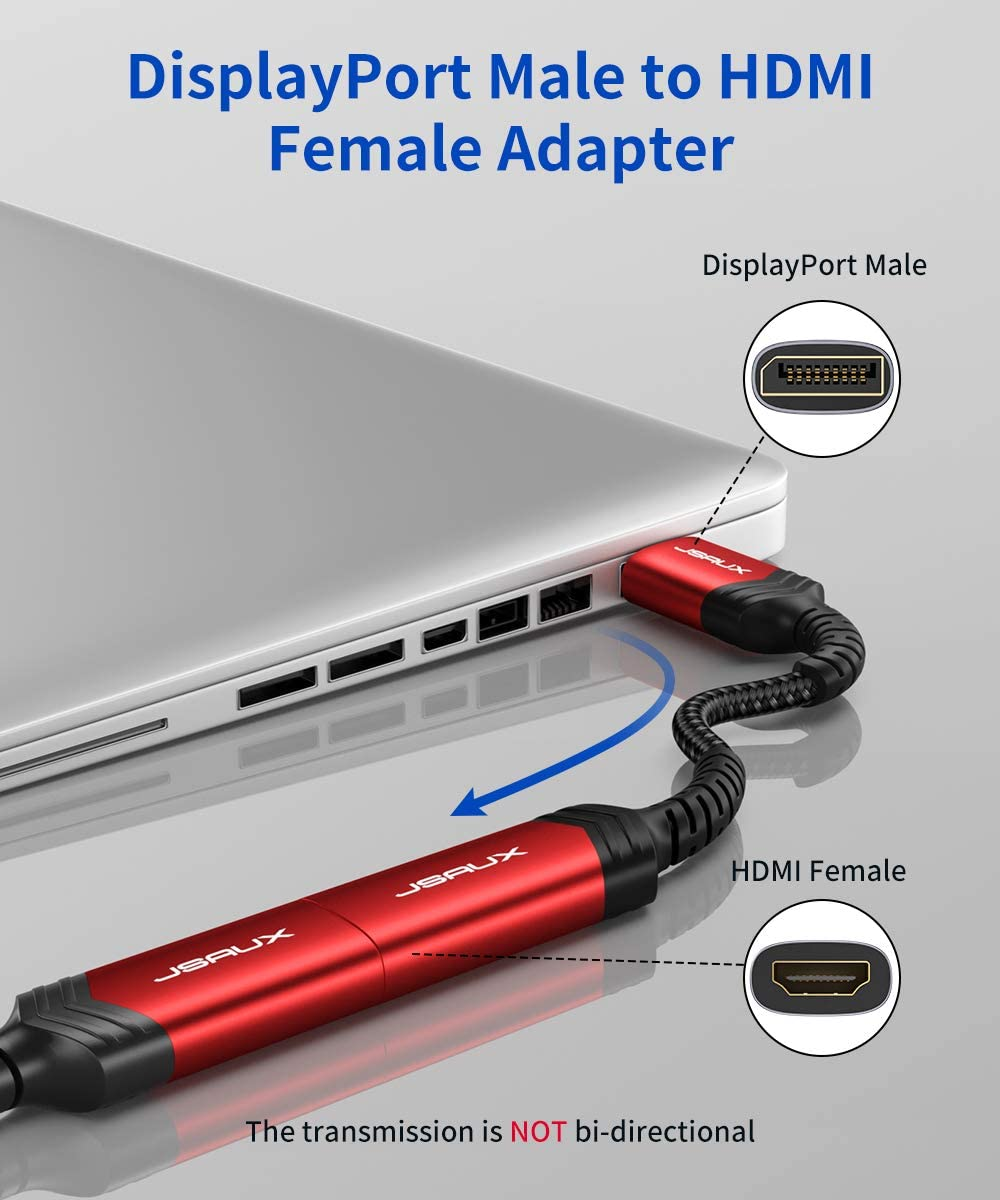 Monitor Projector and More-Grey HP DisplayPort to HDMI Adapter DP Display Port to HDMI Converter 1080P@60Hz Nylon Braided Aluminum Shell Compatible with Lenovo Male to Female HDTV JSAUX Dell