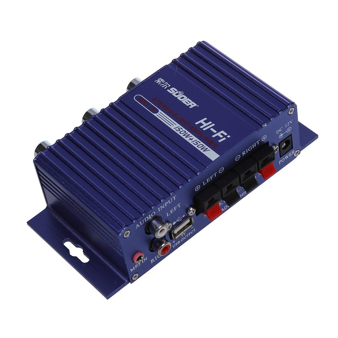 SODIAL(R) HiFi Haute-parleur Amplificateur USB SD RCA a 3.5mm DC12V Auto Moto 4333160422