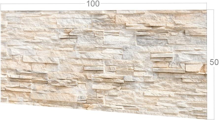 Glasbild als K/üchenr/ückwand Bild-Motiv Steinmauer hell Steinoptik K/üchenspiegel // 100x60cm GRAZDesign K/üchen-Spritzschutz Glas