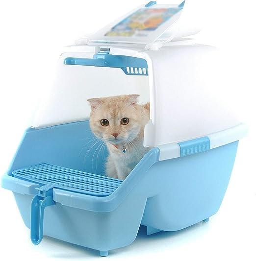 Caja de arena abierta con cubierta interior para gatos, con ...