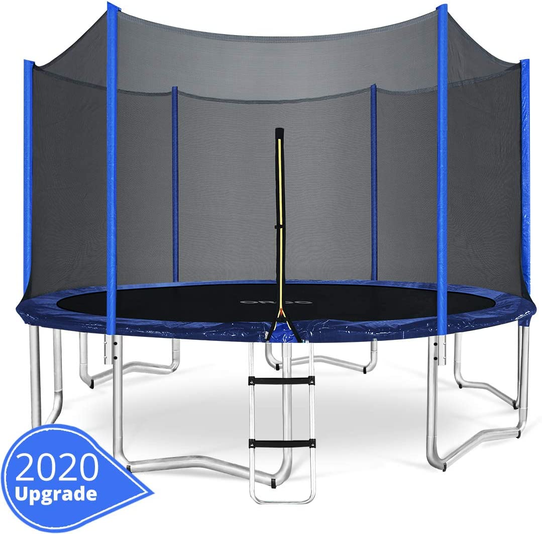 ORCC 15 14 12 10FT Kids Trampoline, TÜV Certificated Yard Trampoline with Enclosure Net Jumping Mat Spring Pad Wind Stakes Rain Cover and Pull