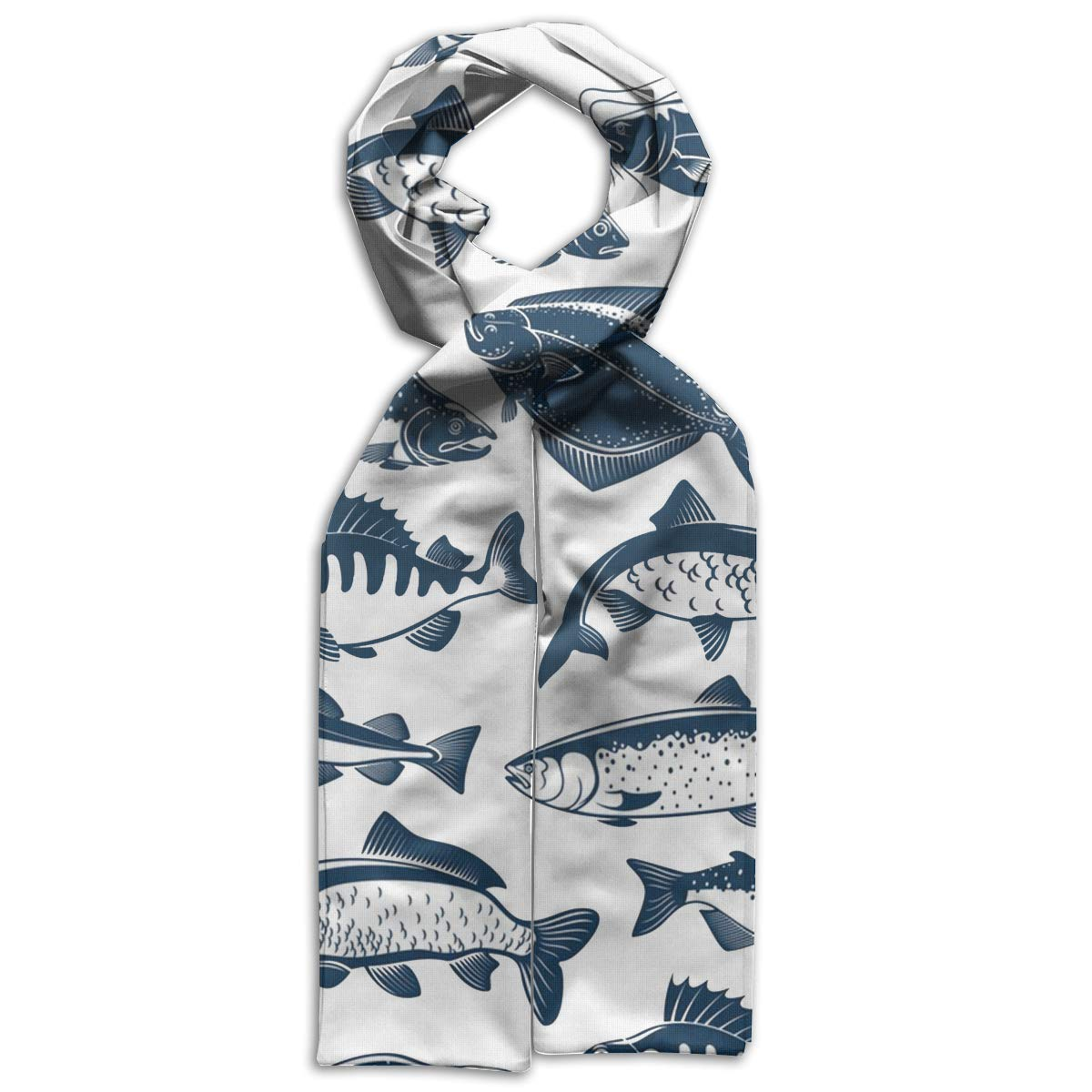 Fish Seamless Pattern Kids Printed Scarf Soft Winter Infinity Scarf Warmer Travel Scarf For Kids Perfect Birthday Gift