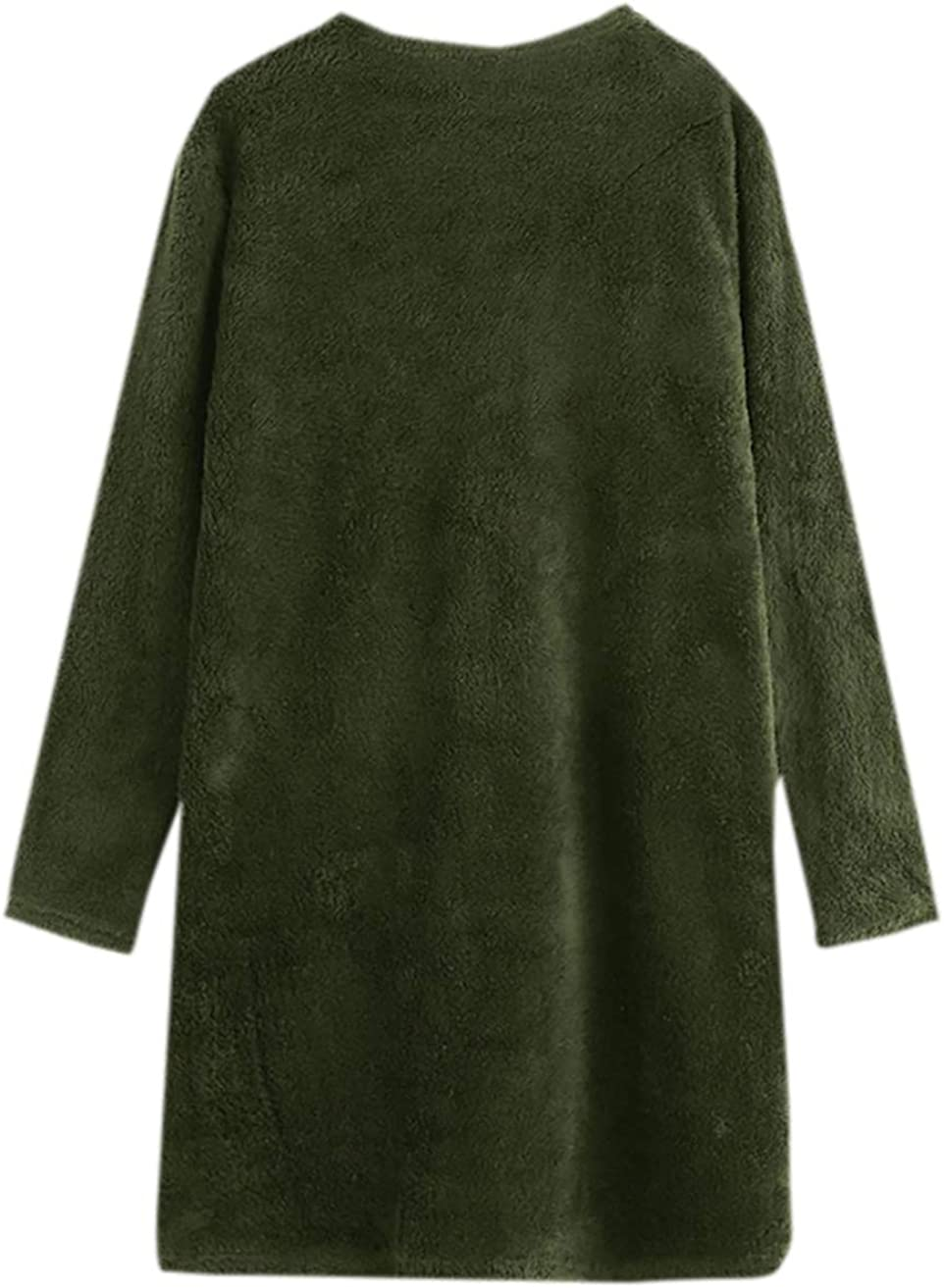Milumia Womens Faux Fur Open Front Teddy Long Trench Coat Cardigan Outerwear Jacket with Pocket Army Green X-Large