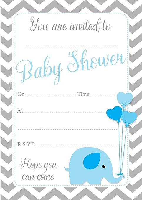qty 16 with or without envelopes A6 in size Baby shower boy blue invitations