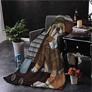 Luoiaax English Bulldog Rugged or Durable Camping Blanket Traditional English Detective Dog with a Pipe and Hat Sherlock Holmes Image Warm and Washable W60 x L50 Inch Multicolor