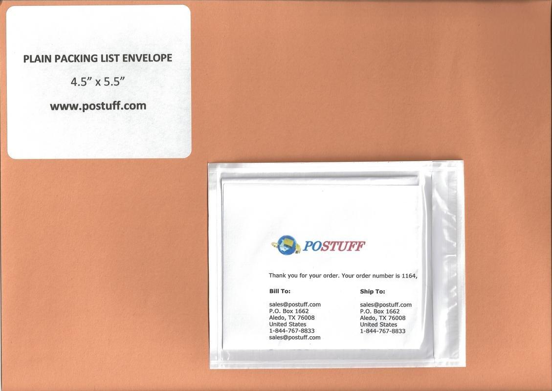 200- 4.5'' X 5.5'' - Clear Packing List Envelope (Plain - No Print)