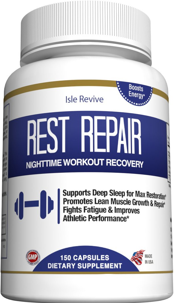 Glutamine BCAA Capsules, Post Workout Muscle Recovery and Sleep Supplement, A Blend of L-Glutamine and Amino Acids, All Natural Pills for Men and Women (150 Capsules, 30 Day Supply) - Rest Repair by Isle Revive (Image #2)