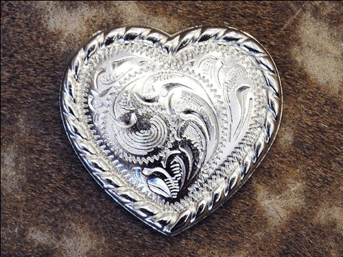 Ropes Headstall - 1 PIECE HEART SHAPE ROPE EDGE NICKLE FINISH CONCHO HEADSTALL SADDLE TACK