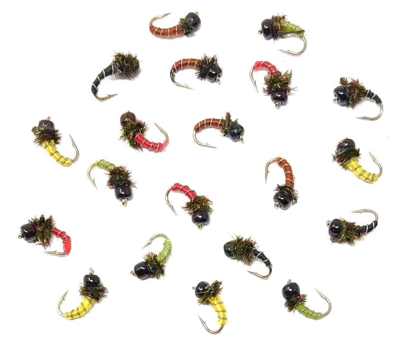 Feeder Creek Fly Fishing Trout Flies - Zebra Midge Assortment - 20 Wet Flies - Size 18, 20 (2 of Each Size) for Trout and Other Freshwater Fish RED, Yellow, Brown, Olive, and Black by Feeder Creek