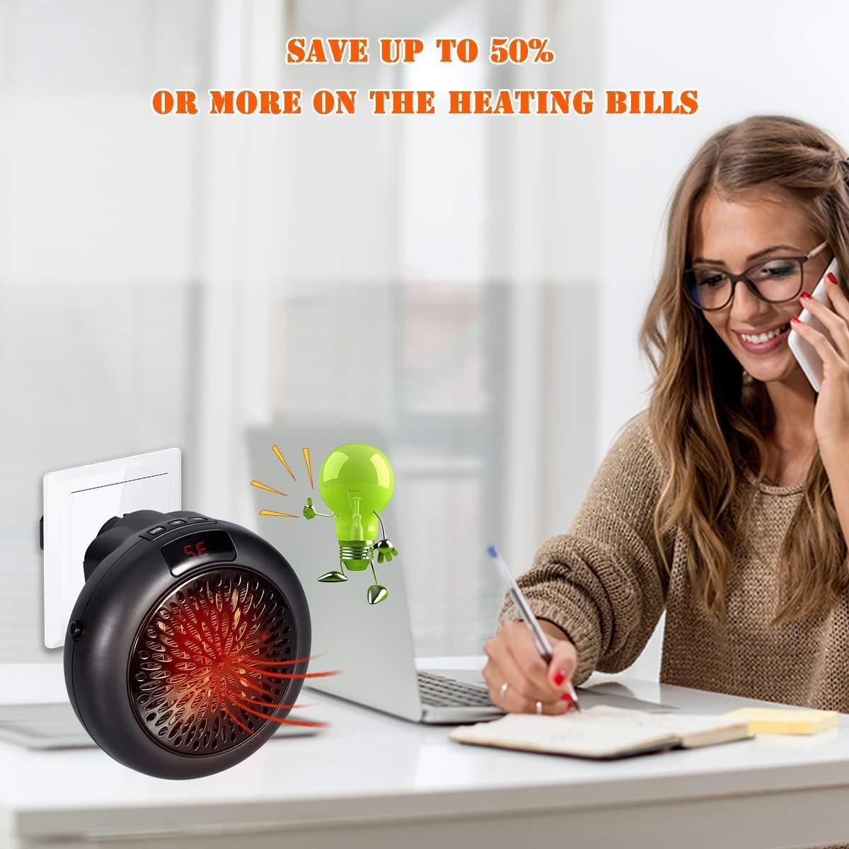 Ajustable de 15 a 32 /° Estufa El/éctrica Port/átil de Bajo Consumo 2018 Ideal para Hogar Oficina Ba/ñO runvian Mini Heater 1000 W con Enchufe El/éctrico