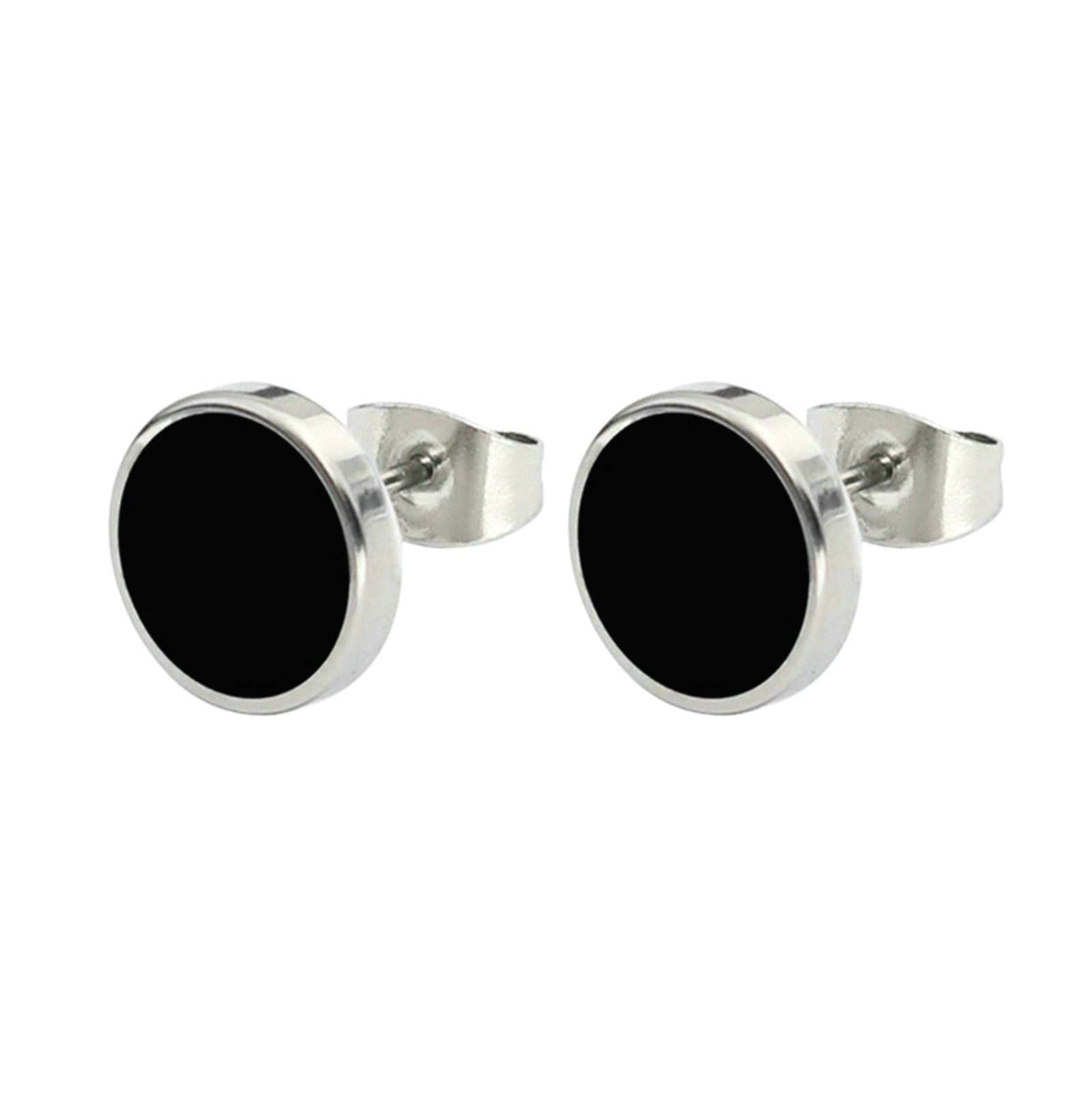 Aooaz, Gothic 10MM Stud Earrings Teens Stainless Steel Black Eound Earrings Teens Women Men Novelty