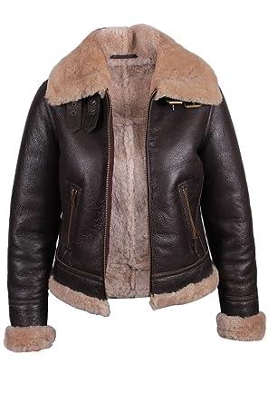 6b01721d6 Ladies Women's Aviator Real Shearling Sheepskin Flying Leather ...