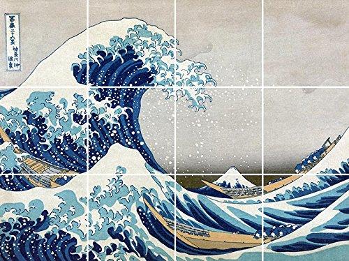 The Great Wave Off Kanagawa Kitchen Backsplash / Bathroom Wall / Art Tile Mural (4.25''x4.25'' Tile)