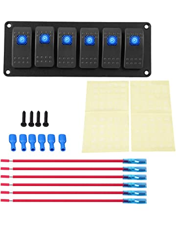 Panel de interruptores LED de 6 cuadrillas, 12-24V Panel de interruptores basculantes de