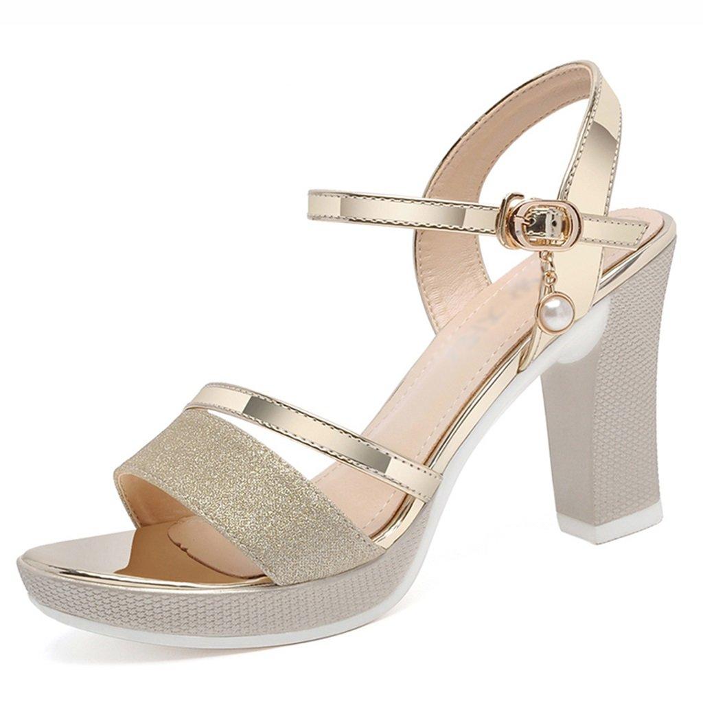 Damenschuhe HWF Sommer Damen High Heels Sandaletten (Farbe   Gold größe   37)