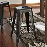 Pinnacal Gray Metal Counter Height Stools, Set of 4