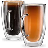 Stone & Mill Large Double Wall Glass Mugs 15 oz - Coffee, Tea, Latte, Cappuccino Cups - Insulated Thermo Glasses for Hot Beverages - AM13