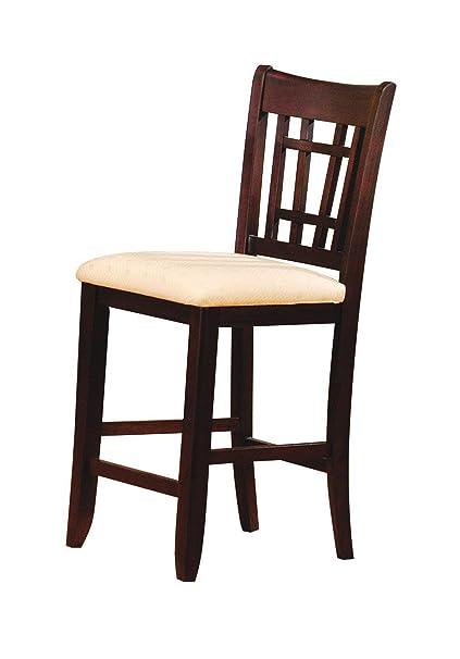 136b7371b7 Amazon.com: ACME Lugano Bar Chair, Walnut Finish, Set of 2: Kitchen ...