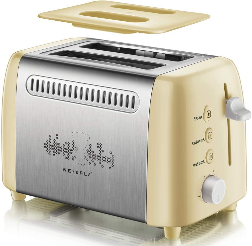 Toaster 2 Slice, Quickly Stainless Steel Extra-Wide Slot Toaster with 6 Shade Settings and Dust cover, Retro Toaster with Stop Defrost Reheat Function and Removable Crumb Tray for Bread