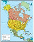 North America Wall Map GeoPolitical Edition by Swiftmaps (24x30 Laminated)