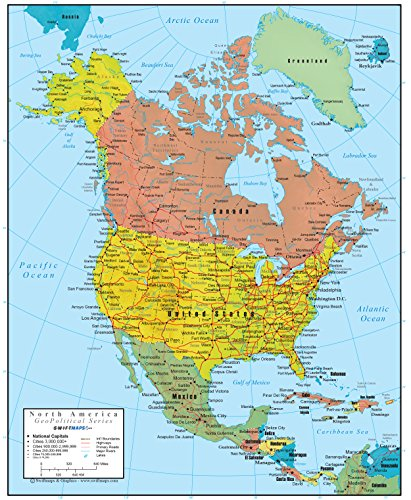 North America Wall Map GeoPolitical Edition by Swiftmaps (36x44 Laminated)
