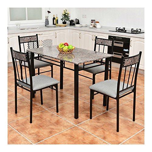 5 Piece Faux Marble Dining Set Table and 4 Chairs Kitchen Breakfast Furniture (5 Piece Faux Marble)