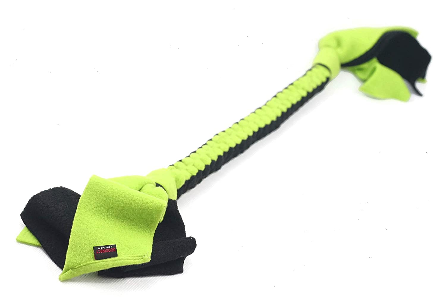 DOG TUG TOY Tugger Tug Chase Rope SMALL: 45cm//17in Soft plaited Flexible FLEECE DOG TOYS Ideal FOR TRAINING HAND MADE KS8 PUPPY PLAY DogDirect London Small, Green-yellow LARGE: 75cm//29in