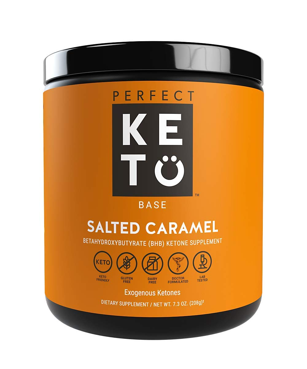 Perfect Keto Exogenous Ketones: Base BHB Salts Supplement. Ketones for Ketogenic Diet Best to Support Weight Management & Energy, Focus and Ketosis Beta-Hydroxybutyrate BHB Salt (Salted Caramel) by Perfect Keto