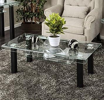 Amazon Com Rectangular Glass Coffee Table With Storage Area Side