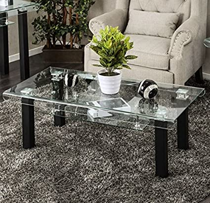 Glass Coffee Table Decor.Amazon Com Rectangular Glass Coffee Table With Storage Area Side