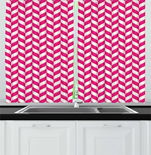 Ambesonne Abstract Kitchen Curtains, Candy Surface Style Wav
