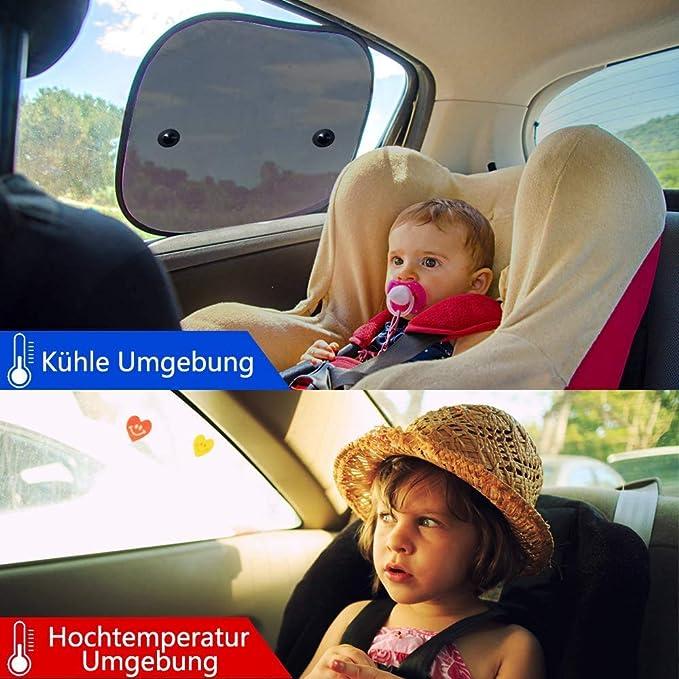 Misura Anti-zanzara e Antipolvere,UV Protezione,con Ventose 2 Pezzi -Tendine Parasole Auto oscuranti per finestrini JIALING Parasole Auto Bambini - 44x 36 cm perfette per i Bambini