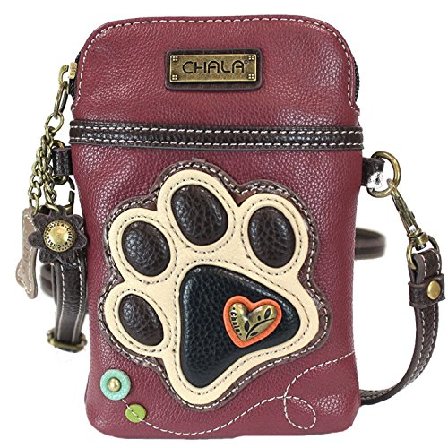 Maroon Strap Paw Print Lovers Chala Dog Convertible Ivory Crossbody Handbag Cellphone YzqBw6