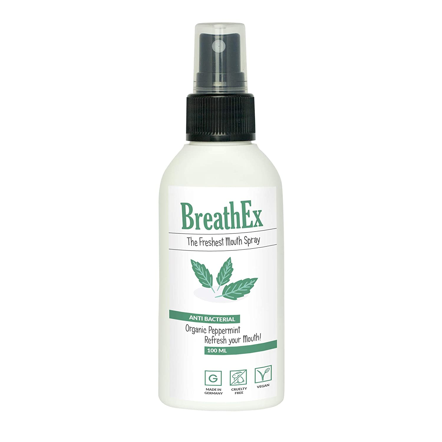 The Freshest Mouth Spray by BREATHEX | 100ml | Natural & Fresh Breath spray with organic peppermint | Antibacterial formula which is long lasting | Alternative to mouthwash and Bad Breath Treatment