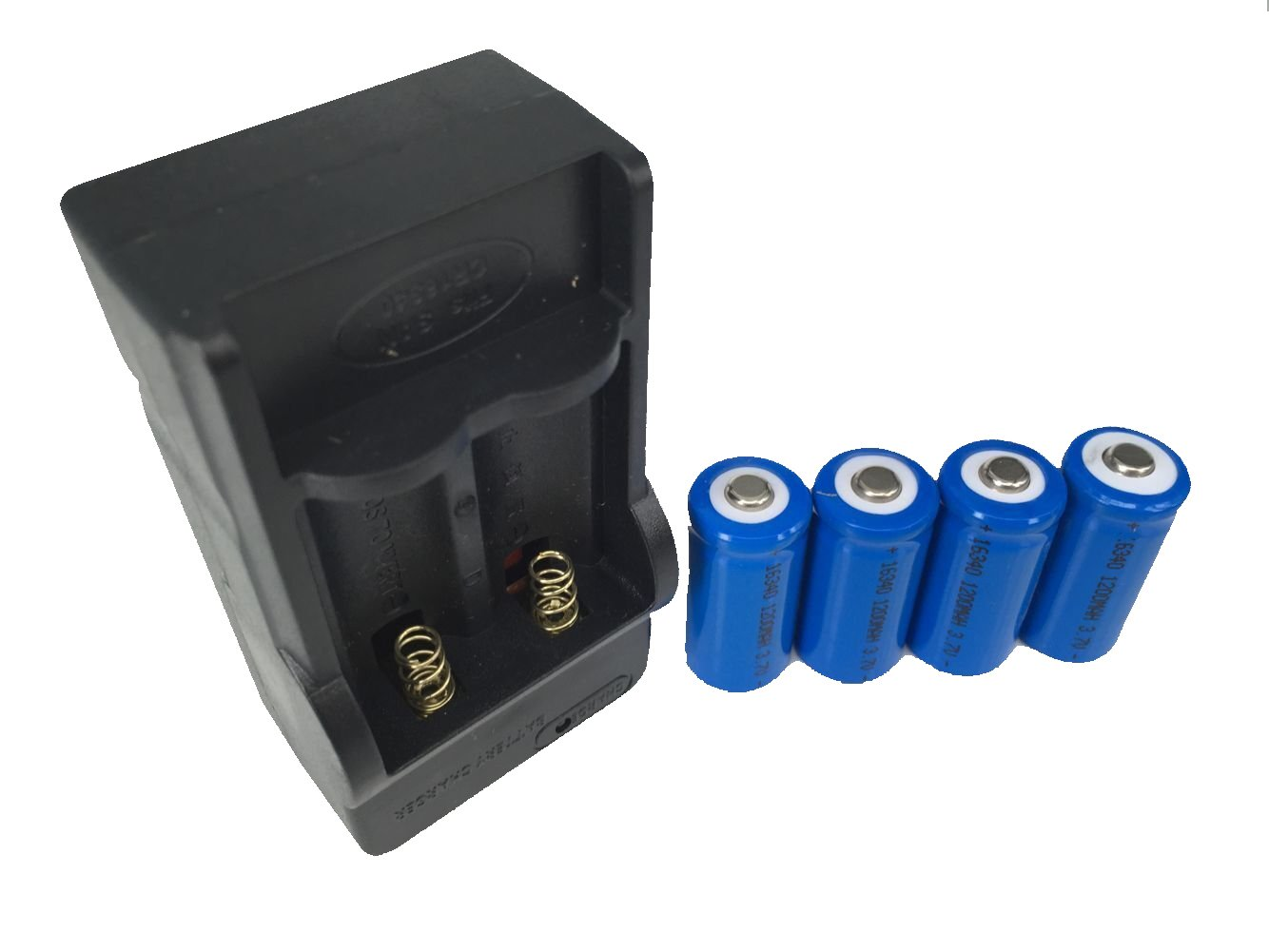 ON THE WAY®4pcs 1200mAh 16340 CR123A LR123A 3.6V Rechargeable Li-Ion Battery Plus Charger